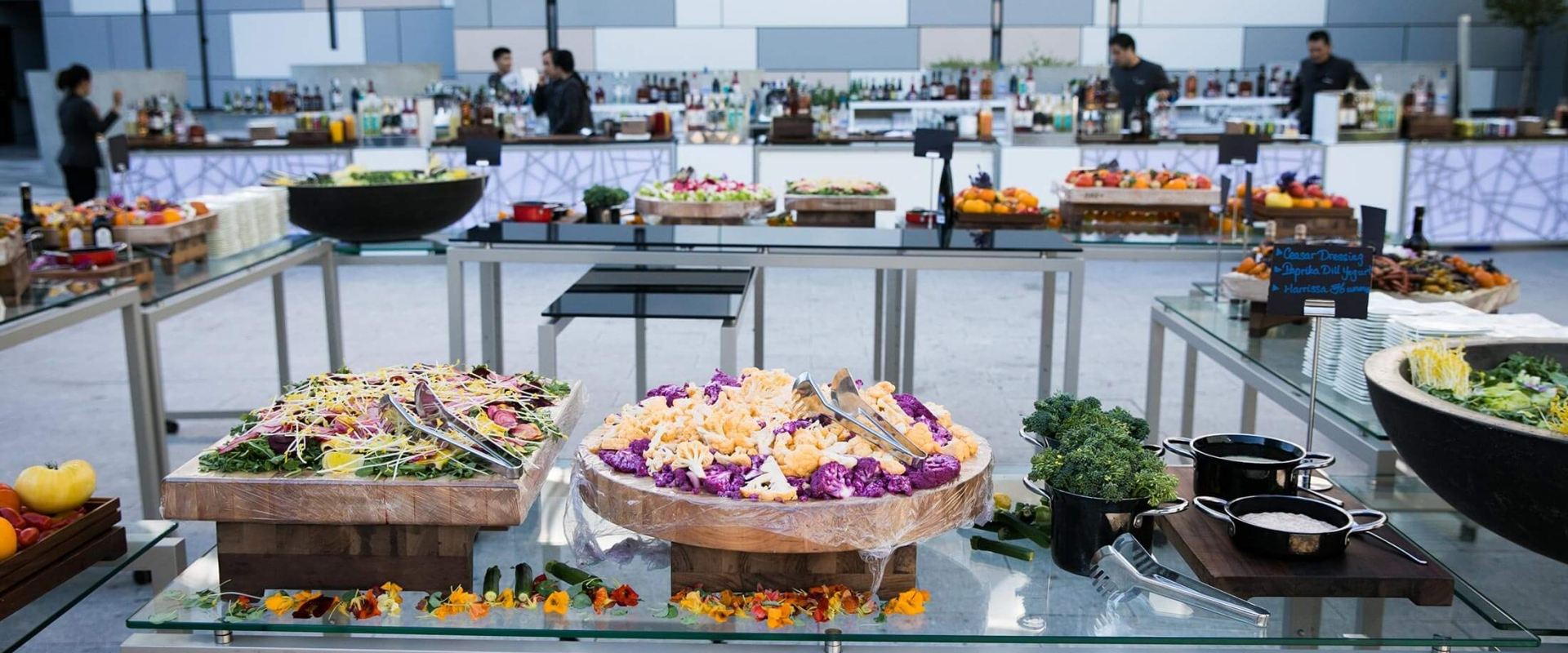Beautifully prepared buffet and bar at Parq Vancouver