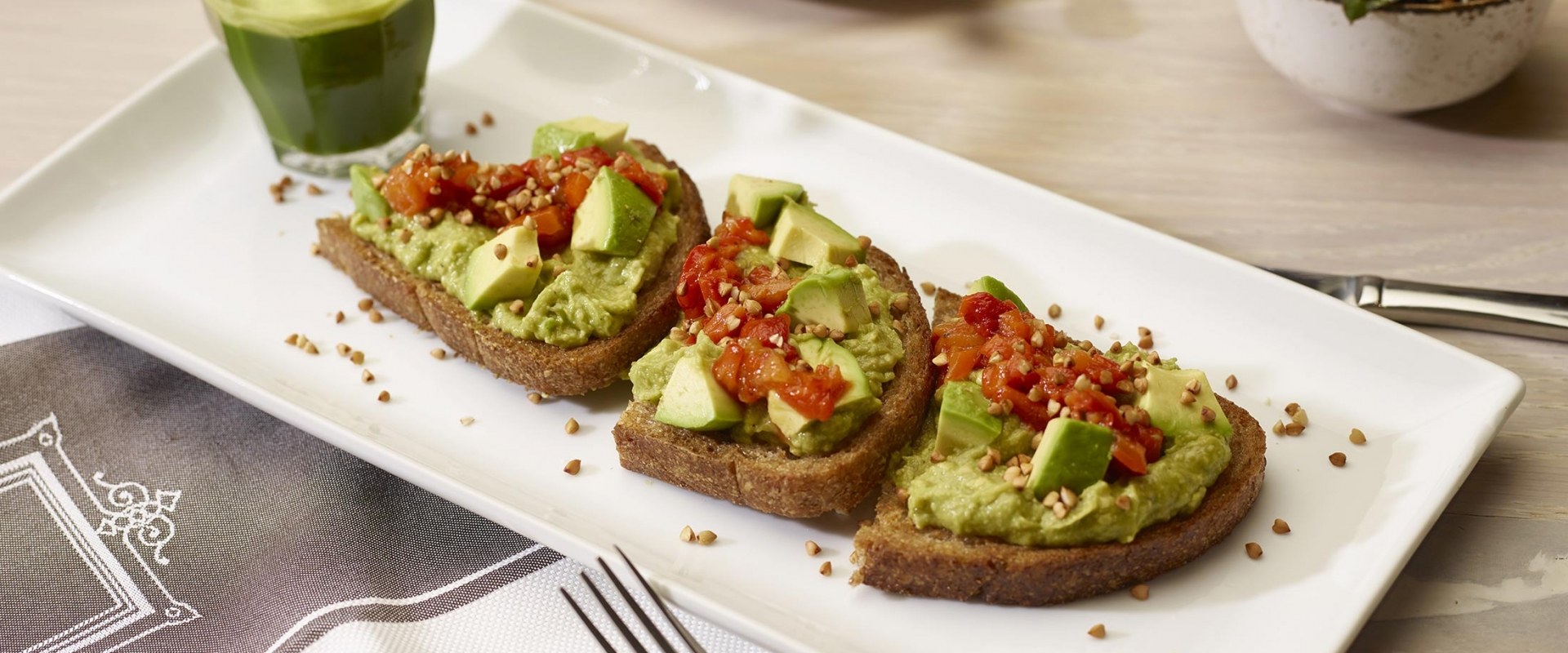 Scrumptious plating of avocado toast at Honey Salt Parq Vancouver