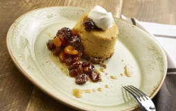 A delicious plate of pumpkin cheesecake from Honey Salt at Parq Vancouver