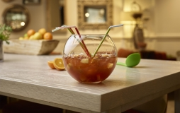 Punch bowl with 4 straws from Honey Salt at Parq Vancouver