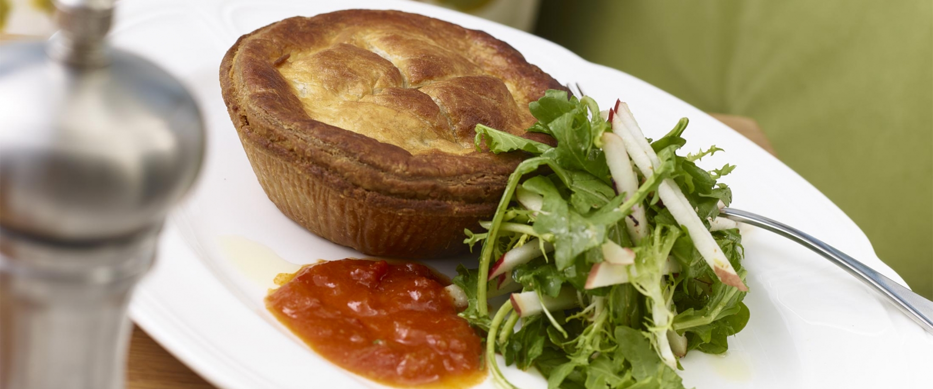 Delicious tourtiere pie and side salad from Honey Salt at Parq Vancouver