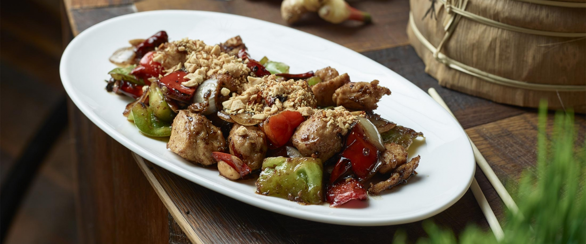 A delicious presentation of kung pao chicken at MRKT East