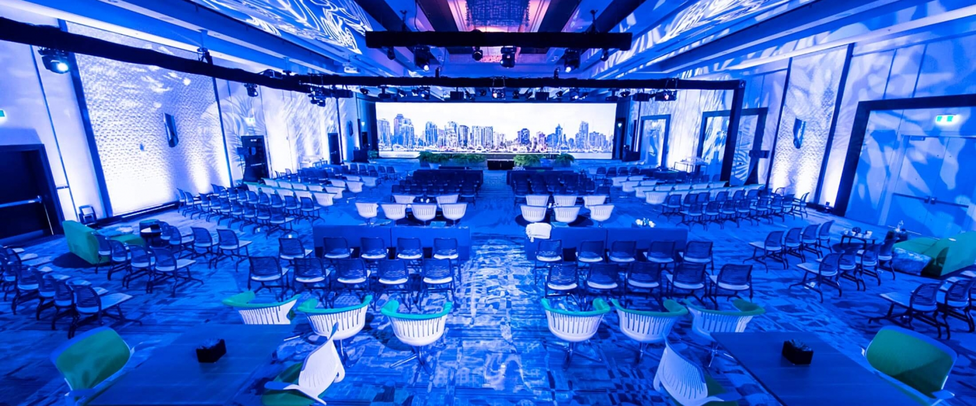 The grand ballroom at Parq Vancouver lined with chairs