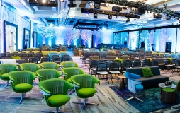 Parq Vancouver grand ballroom with rows of chairs at long tables