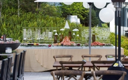 Large seafood display in an outdoor space at Parq Vancouver